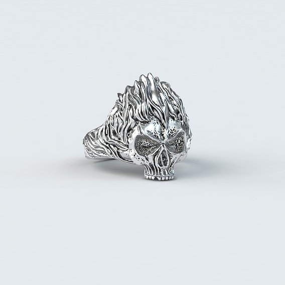 Silver Ring Skull in Fire
