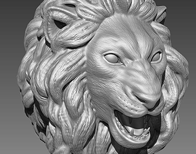 art 3D print model The head of a lion