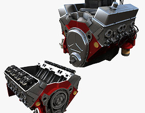 3D model V8 muscle car engine