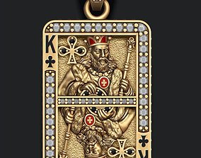 Club king playing card pendant 3D printable model