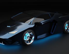 Low-poly sports car 3D model