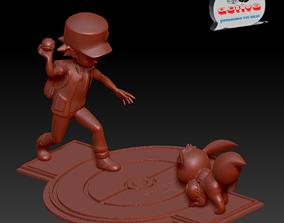 Pokemon - Red catch Eevee 3D print model