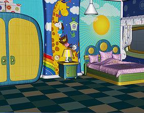 3D model realtime Cartoon house interior