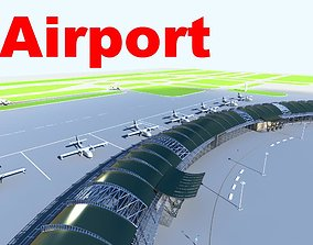 Airport with 5 Long Terminals 3D model