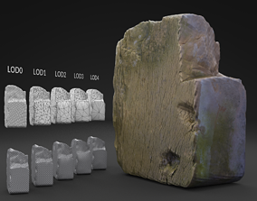 Scanned Old Half Red Brick LOW POLY LODs 3D model