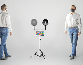 3D model Respectable man in blue jeans white shirt and 1