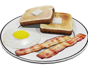 3D asset Plate of Breakfast