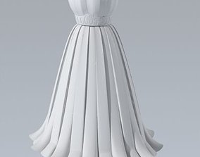 Dress with pleated skirt 3d model