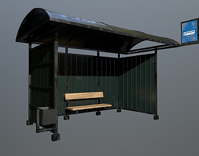 3D model low-poly Bus Stop architectural