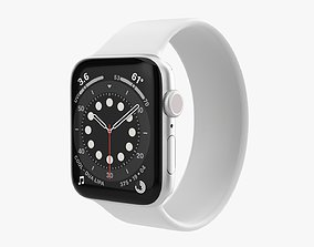 Apple Watch Series 6 silicone solo loop silver 3D model