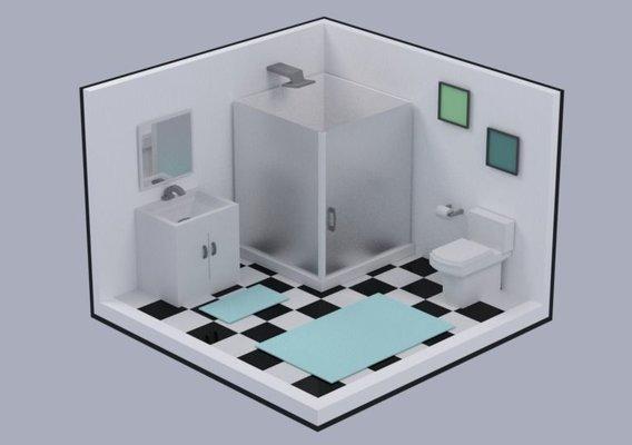 Isometric low poly interiors