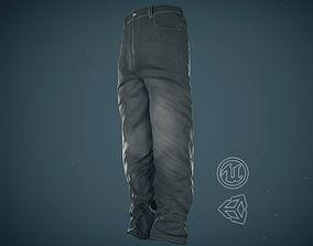 Gray Baggy Jeans Pants 3D model