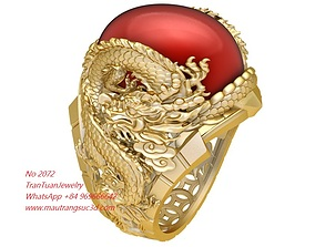 3D printable model 2072 Ruby Oval Dragon Ring New Design 1