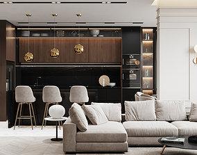 3D Modern Apartment Interior Scene and 2