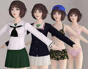 3D T pose nonrigged model of Yukari with various outfit