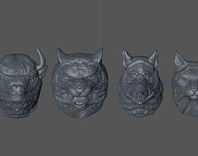 3D printable model set of animal heads
