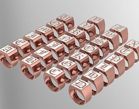 3D Gothic Alphabets Letter Rings Collection