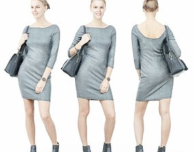 Girl in Grey Dress with Handbag on Shoulder 3D model