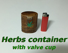 3D print model Herb container with valve cup opening