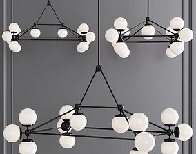 Modo Rectangle Chandelier 14 Globes Black and 3D model 1