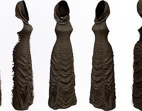 Textured Long Wrinkled Ruffled Hooded Dress 3D model