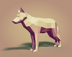 Cartoon Wolf Statue - Low Poly 3D asset game-ready