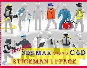 Stickman 11 pack -Rigged 3D