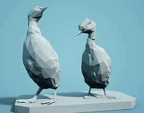 miniatures Low Poly Duckling Models