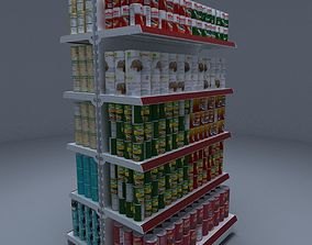 Gondola Shelves with Canned Foods 3D model