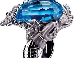 3D print model emerald Mermaid Ring