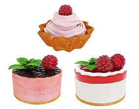 3D Raspberry dessert collection