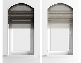 3D model Parametric Roman Curtains and Arched Window