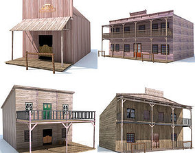 3D model 4 Western Styled Houses
