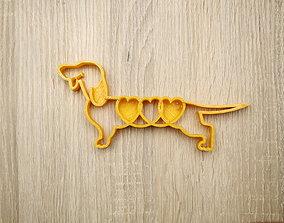 Cookie shape dog dachshund 3D print model