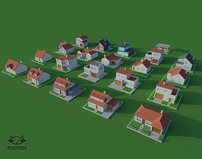 3D asset 20 LowPoly houses
