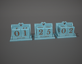 3D asset Light Blue Perpetual Wooden Block Calendar
