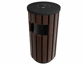 3D asset The metal trash can 3