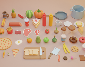 3D model Low Poly Fruits and Vegetables Food