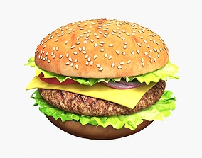 Hamburger with Cutlet and Vegetables 3D
