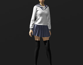 Japanese Girl cosplay school uniform 3D