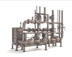 3D Industrial heat exchanger filter pipeline boiler plant