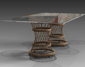 Aruba Glass Top Rectangular Dining 3D model