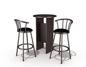 2 Round Chairs With A Table 3D model