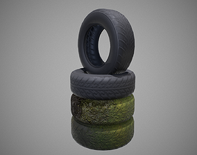 Low poly explosive Tires pack PBR Game-ready 3D model