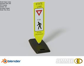 3D asset Pedestrian Crossing Sign