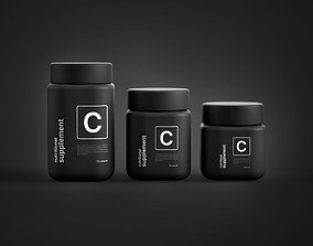 3D Nutritional Supplements Rounded Square Olly Jars Set