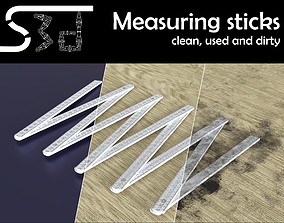 3D asset Measuring sticks clean used dirty