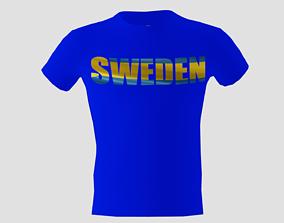 3D asset Low poly Sweden shirt blue colour
