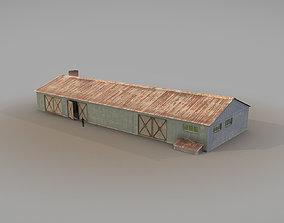 Old Garage 01 blue 3D asset