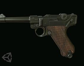 3D asset low-poly Luger pistol
